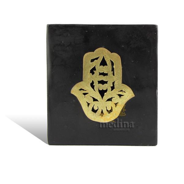 Photophore cube noir main fatima en dorée