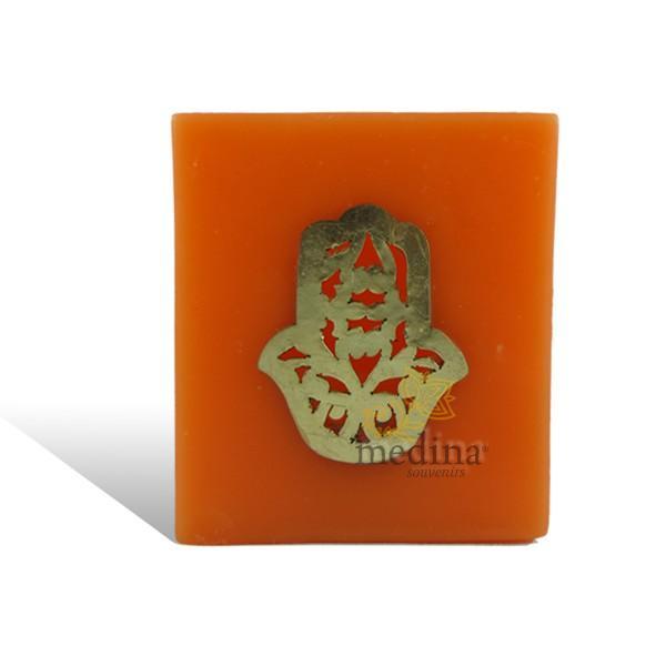 Photophore cube orange main fatima en dorée