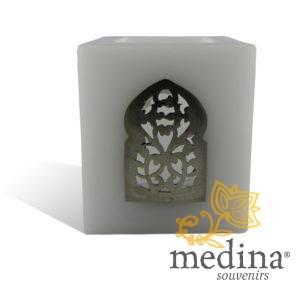 Photophore blanc cube motif porte arcade métal