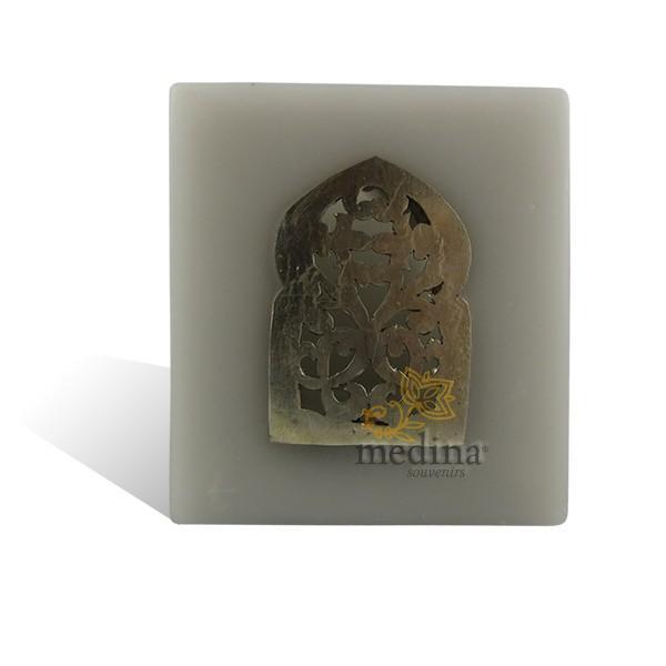 Photophore gris cube motif porte arcade métal