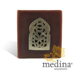 Photophore chocolat cube motif porte arcade métal