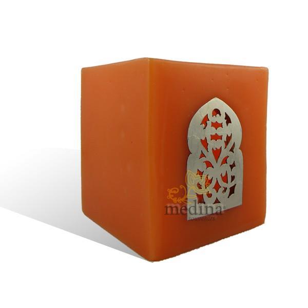 Photophore orange cube motif porte arcade métal