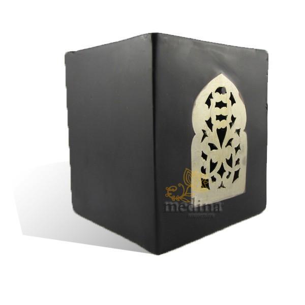 Photophore noir cube motif porte arcade métal