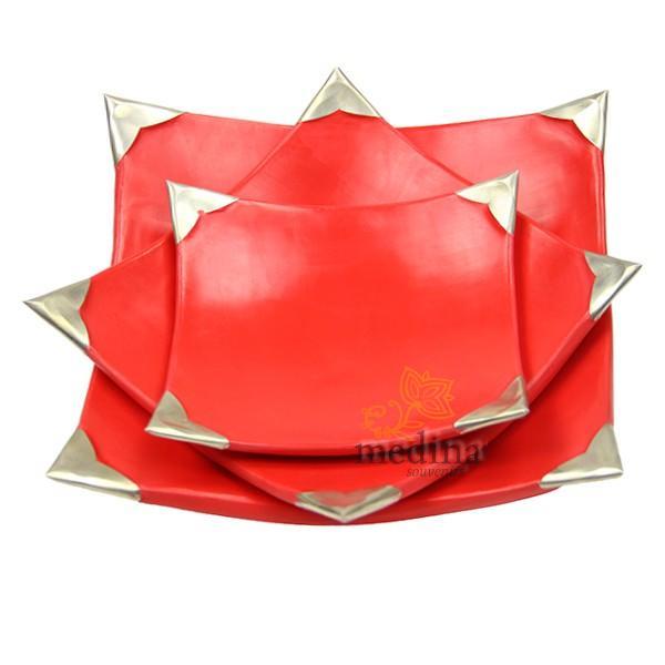 Assiettes Tadelakt carrées medium rouge