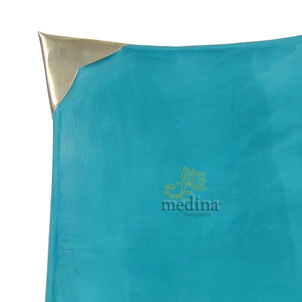 Assiettes Tadelakt carrées medium turquoise zoom