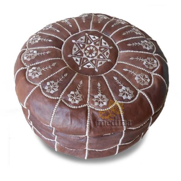 Pouf marocain design arcade en cuir marron, pouf en cuir véritable fait main
