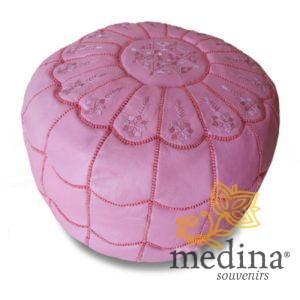 Pouf marocain design arcade en cuir rose, pouf en cuir véritable fait main