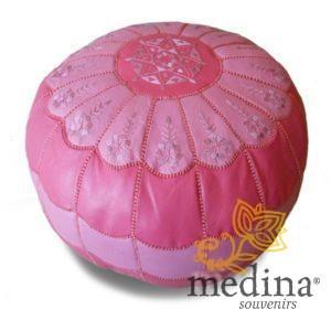 Pouf marocain design arcade en cuir deux couleurs rose, pouf en cuir véritable fait main