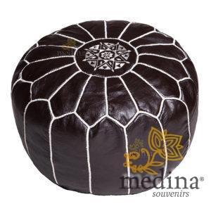 Pouf design cuir marocain noir et coutures blanches, pouf en cuir véritable fait main