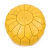 Pouf design cuir marocain moutarde, pouf en cuir véritable fait main