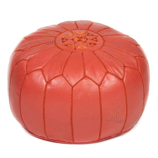 Pouf design cuir marocain rouge, pouf en cuir véritable fait main
