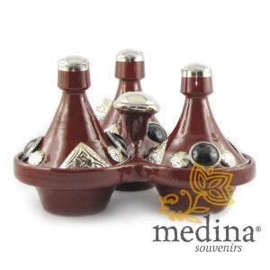 Tajine trois épices, trois tajines marocains a épices couleur bordeau