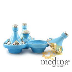 Tajine trois épices, trois tajines marocains a épices couleur turquoise