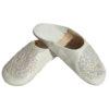 Babouche paillettes brodées, babouche Femme modele Galia blanche, babouches a bout rond cousues main, chaussons en cuir veritabl