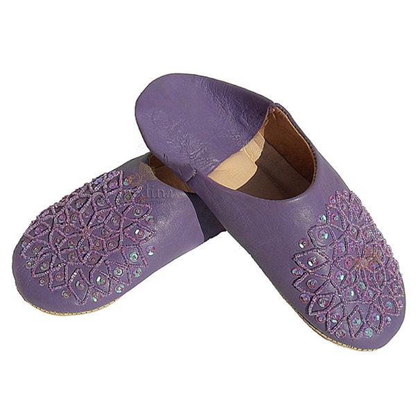 Babouche paillettes brodées, babouche Femme modele Galia lavande, babouches a bout rond cousues main, chaussons en cuir veritab