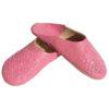 Babouche paillettes brodées, babouche Femme modele Galia rose, babouches a bout rond cousues main, chaussons en cuir veritable