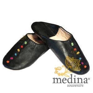 Babouche Rosa Marrakech noir, babouches confectionnees et cousues main, chaussons en cuir veritable et soie de sabra