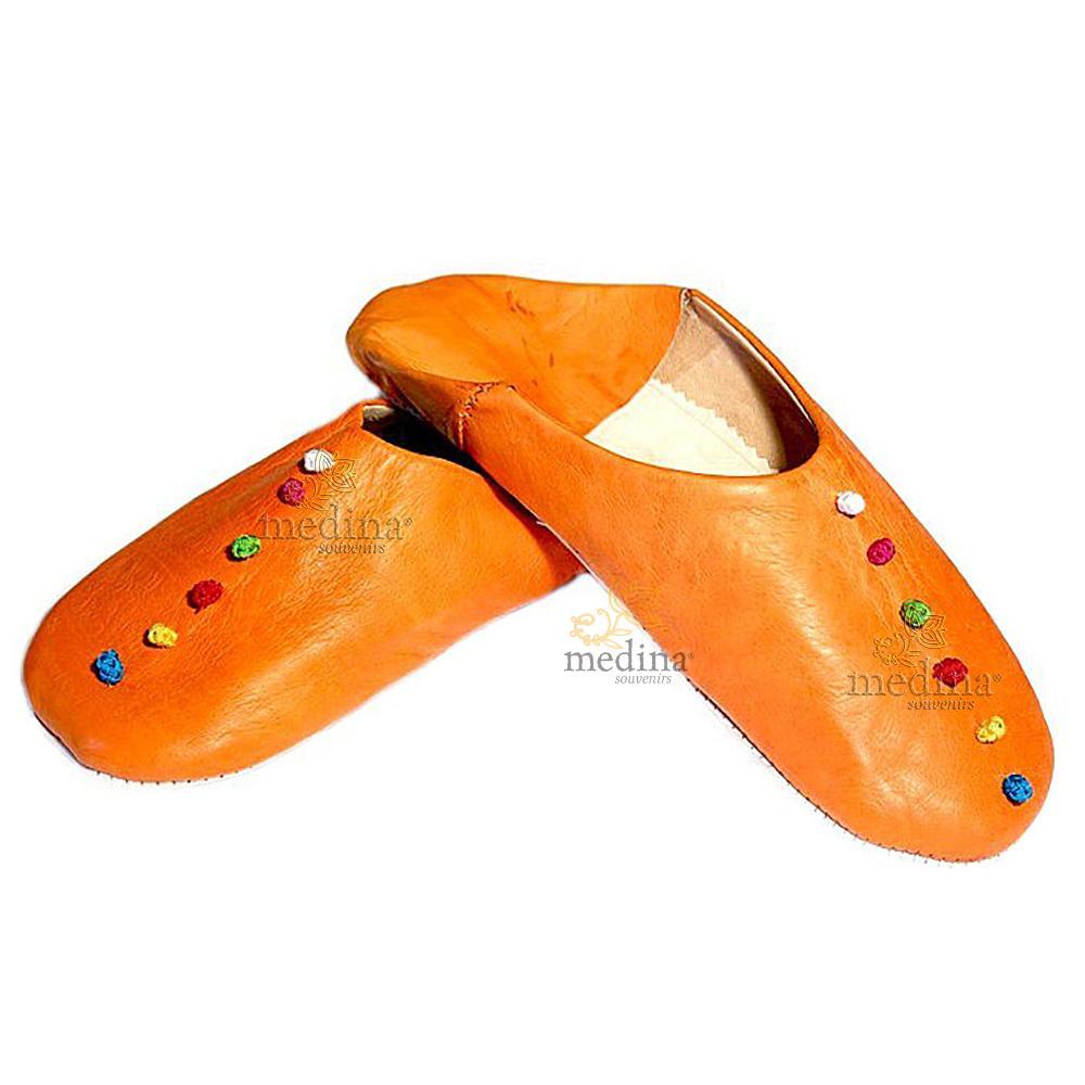 Babouche Rosa Marrakech orange, babouches confectionnees et cousues main, chaussons en cuir veritable et soie de sabra