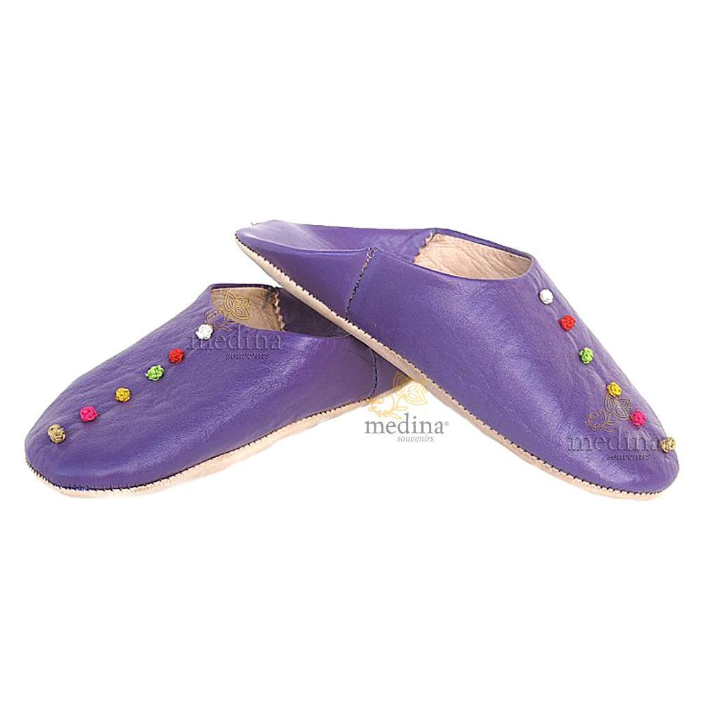 Babouche Rosa Marrakech violet, babouches confectionnees et cousues main, chaussons en cuir veritable et soie de sabra