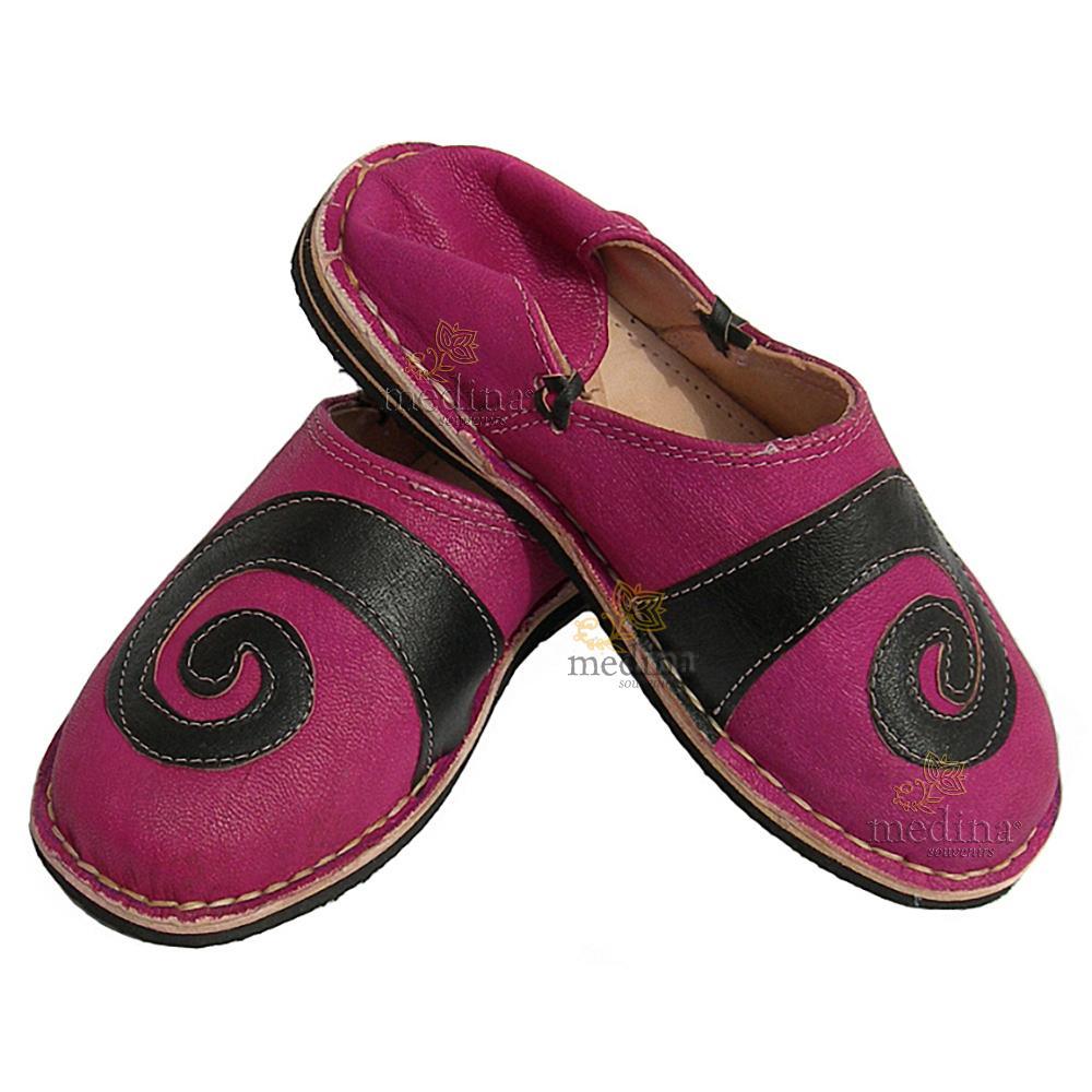 Babouche berbere design spirale Brun et Fuchsia_ chaussons ou pantoufles robustes et colorés au design atypique