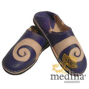 Babouche berbere design spirale Ivoire et Violet_ chaussons ou pantoufles robustes et colorés au design atypique