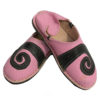Babouche berbere design spirale Rose et Noir, chaussons ou pantoufles robustes et colorés au design atypique