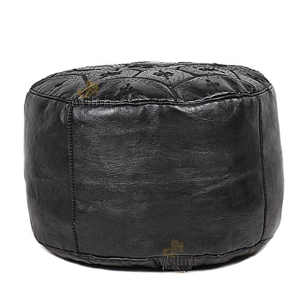 Pouf Nejma en noir cuir, pouf marocain en cuir véritable fait main