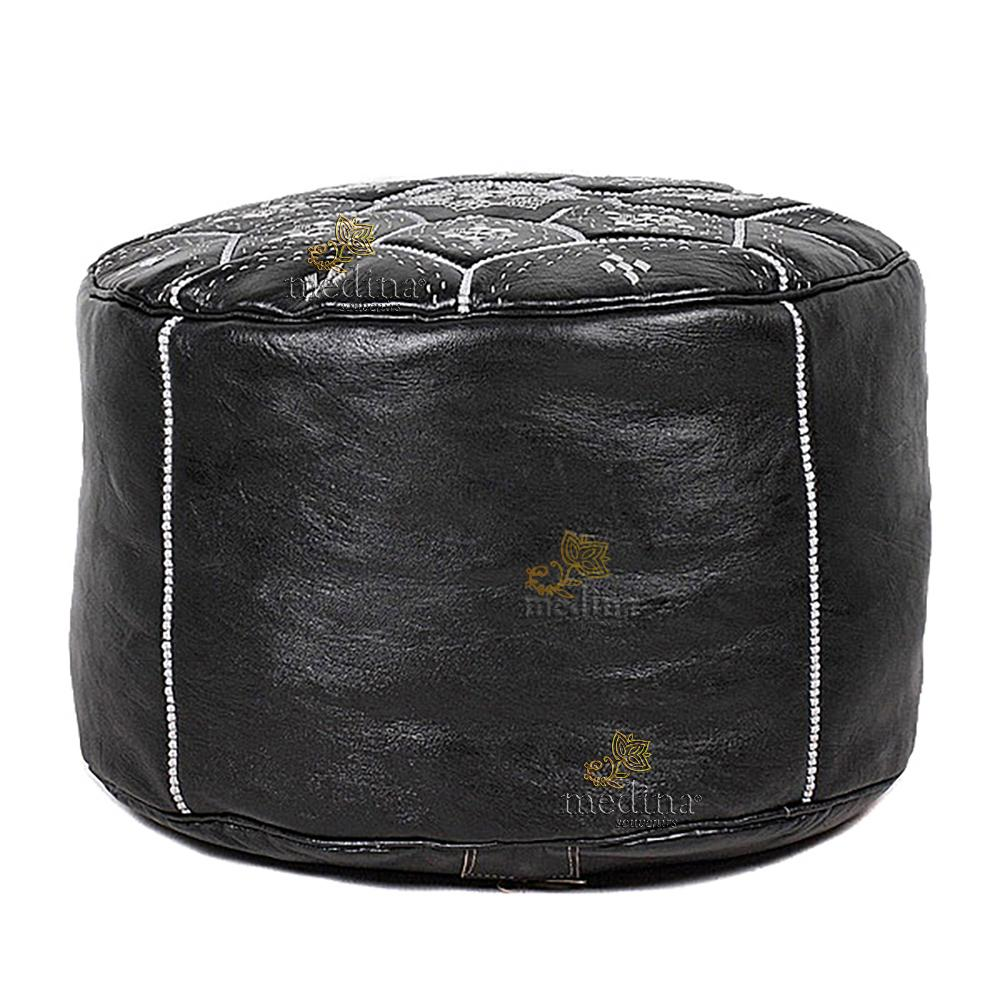 Pouf Nejma en cuir noir et broderies blanches, pouf marocain en cuir véritable fait main