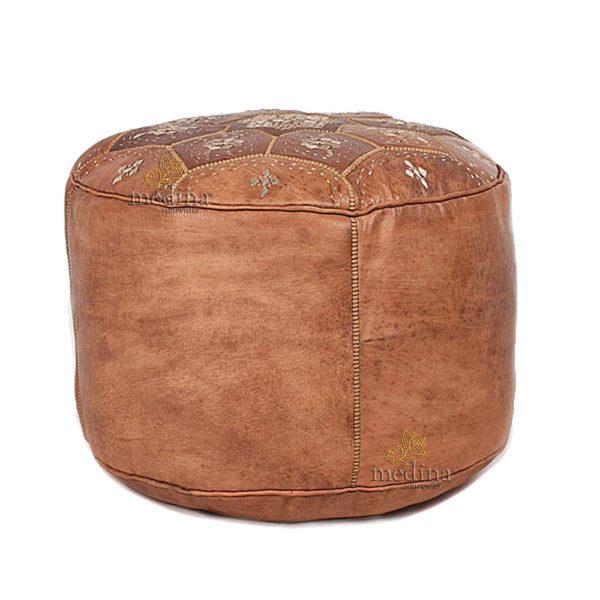 Pouf Nejma en cuir tanné camel, pouf marocain en cuir véritable fait main 24e0b0fda82