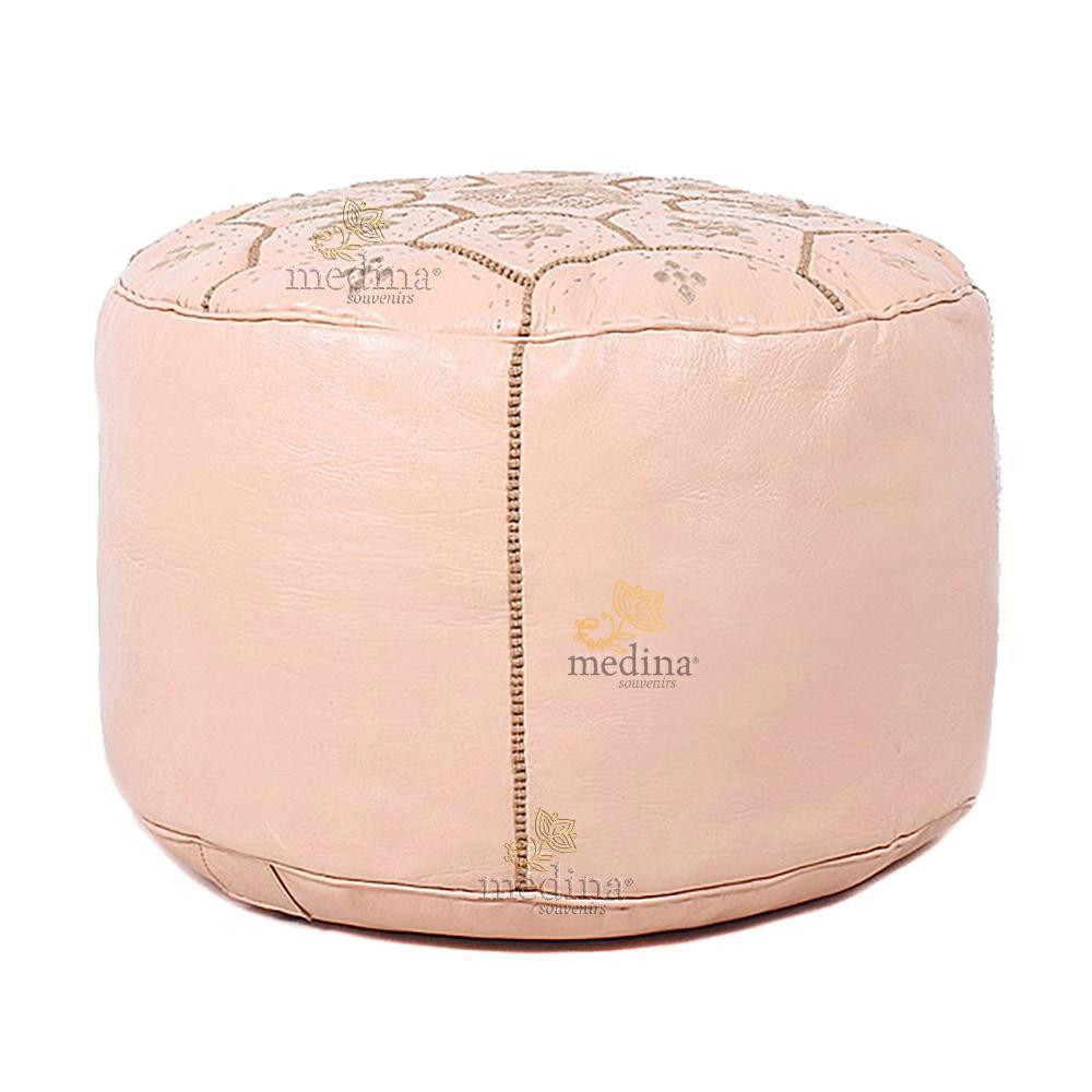 Pouf Nejma en cuir rose, pouf marocain en cuir véritable fait main