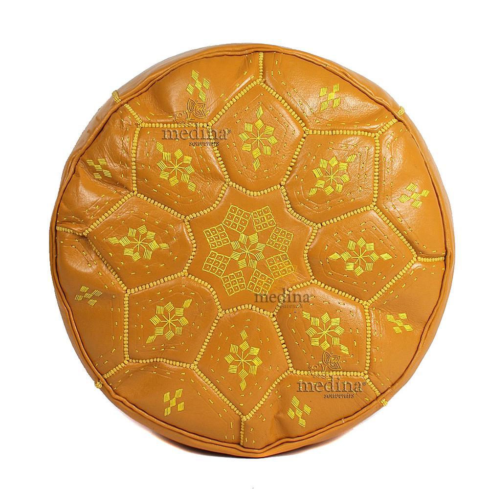 Pouf Nejma en cuir moutarde, pouf marocain en cuir véritable fait main