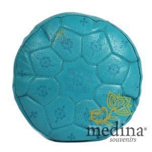 Pouf Nejma en cuir turquoise, pouf marocain en cuir véritable fait main