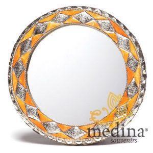 Miroir rond orné et décoré couleur corail, miroir fait main