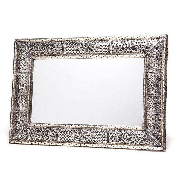 Grand miroir rectangulaire en metal décoré, miroir fait main