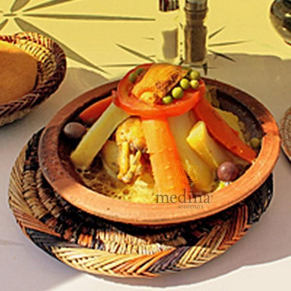 Dessous de plat en osier tressé et cousu main