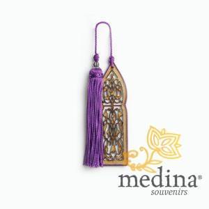 Marque page fait main porte orientale et pompon de soie violet