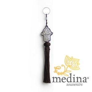 Porte cles main de fatima en métal argenté et pompon en soie Noir