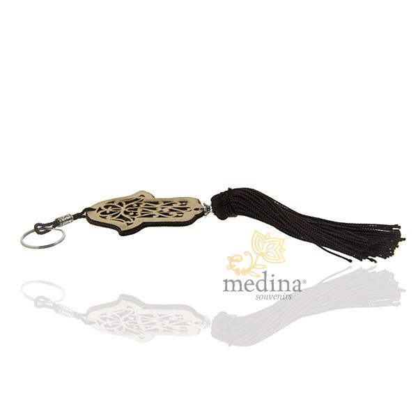 Porte cles main de fatima en bois et pompon en soie Noir