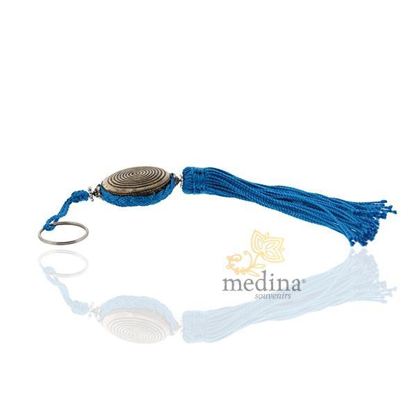 Porte cles Shems, porte cle en métal gravé et pompon en soie Turquoise