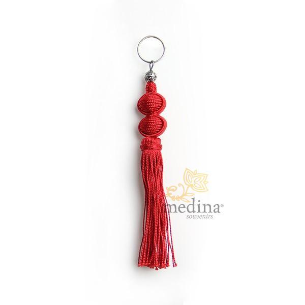 Porte cles Marina, porte cle en soie couleur Rouge