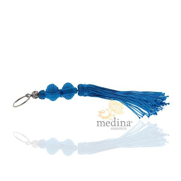 Porte cles Marina, porte cle en soie couleur Turquoise