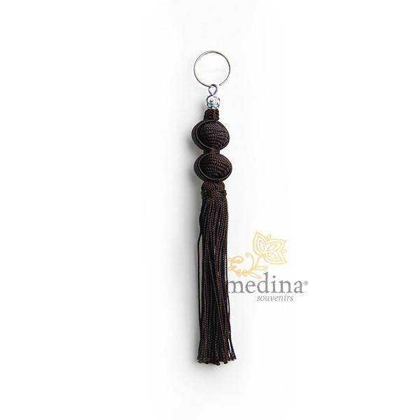 Porte cles Marina, porte cle en soie couleur Marron