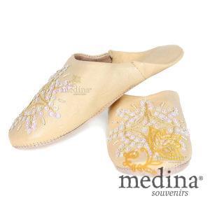 Babouche marocaine originales Paloma jaune, pantoufles alliant du confort et de l'élégance, chaussons cousus main