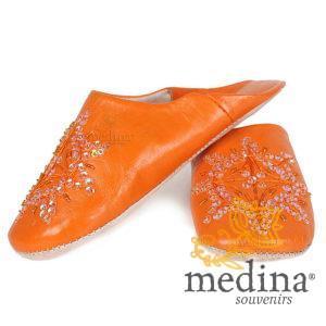 Babouche marocaine originales Paloma orange, pantoufles alliant du confort et de l'élégance, chaussons cousus main