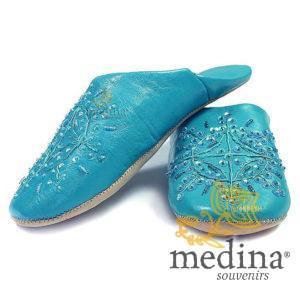 Babouche marocaine originales Paloma turquoise, pantoufles alliant du confort et de l'élégance, chaussons cousus main