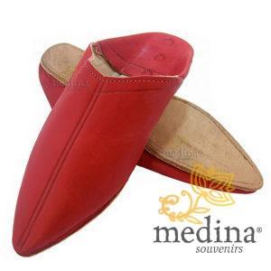 Babouche Homme et Femme traditionnel rouge babouche de Marrakech à bout pointu chaussons cousus main mocassins mixtes