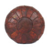Pouf design cuir marocain couleur chocolat, pouf en cuir véritable fait main