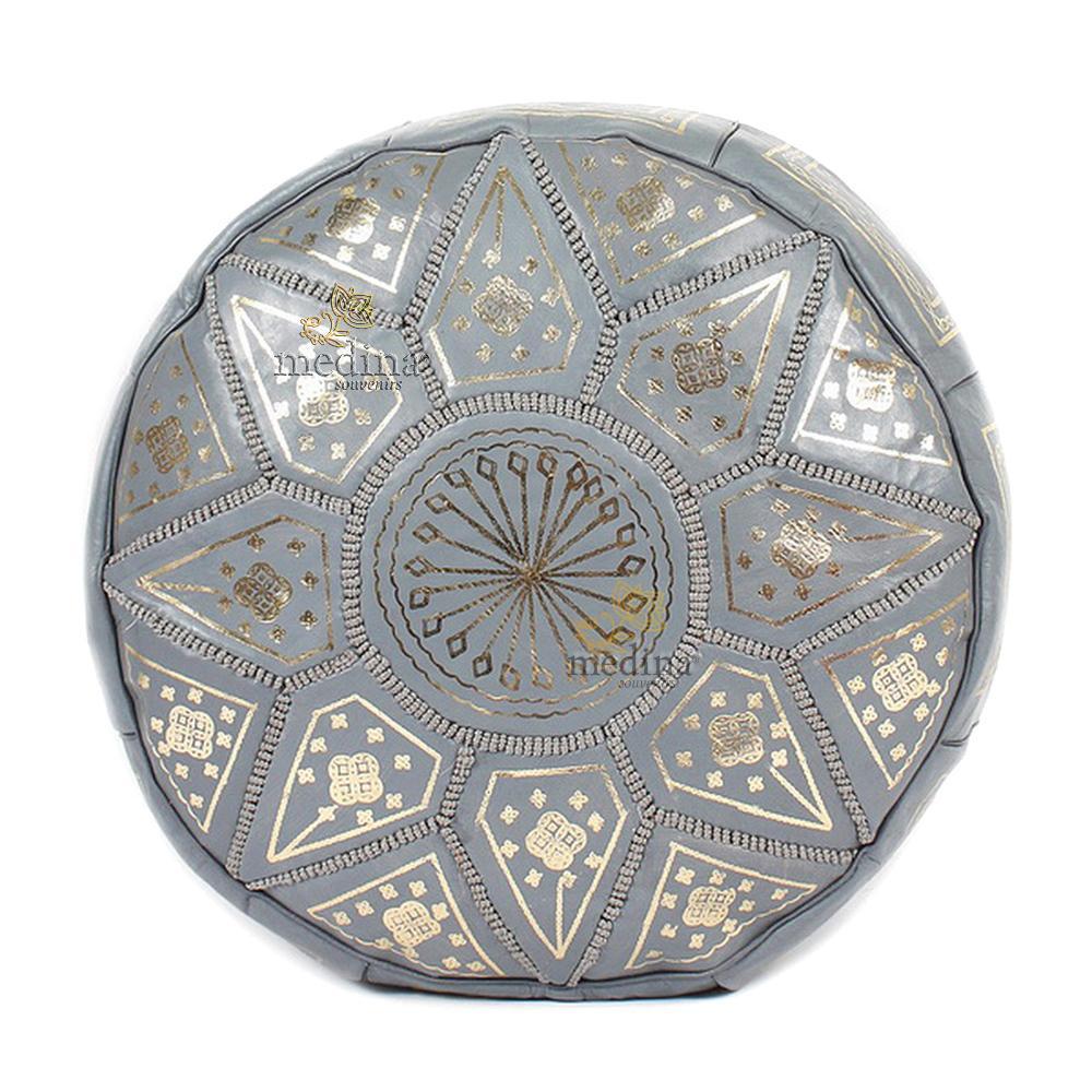 Pouf fassi en cuir Cuir gris, pouffe marocain en cuir veritable fait main