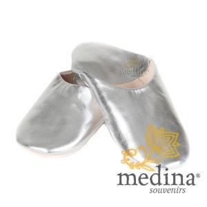 Babouche Kenza argenté Babouche marocaine en cuir véritable pantoufles alliant confort et élégance