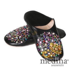 Babouche Essaouira noir babouche marocaine en cuir veritable chaussons cousus main mocassins femme pantoufles confortables